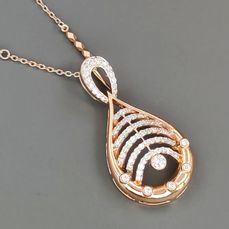 18 kt. Pink gold - Necklace with pendant - 0.56 ct Diamond