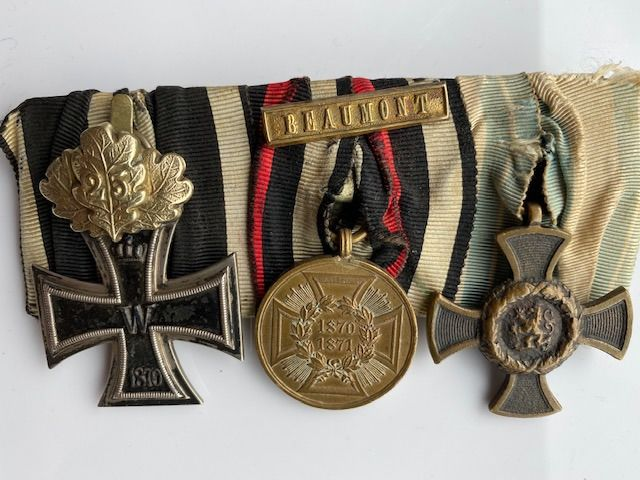 German Empire, Prussia, Kingdom of Bavaria - Iron cross 2nd class 1870 with oak leaves anniversary clasp 25 - Ordensspange