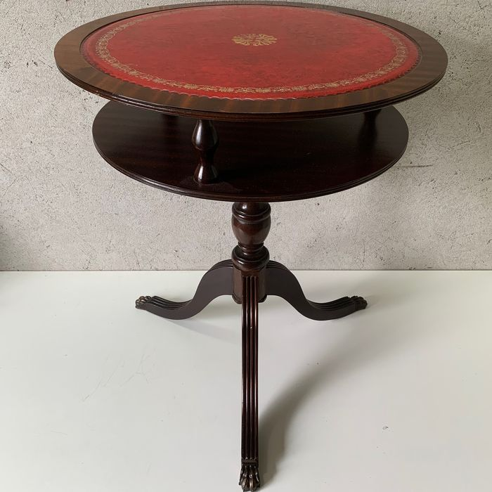 Wine table with Red Leather Inlaid Tray - Regency Style