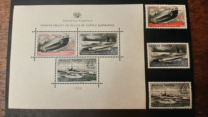 Spanien 1938 - Submarine post. Miniature sheet and the corresponding stamps from sheet. Excellent preservation. - Edifil 781 + SH 781