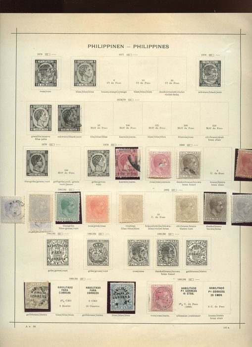 Philippines 1864/1940 - Stamps of the period on pre-printed sheets