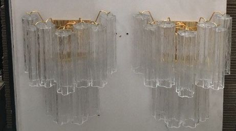 """Wall light, Monumental Wall sconces pair """"trunk"""" glass"""