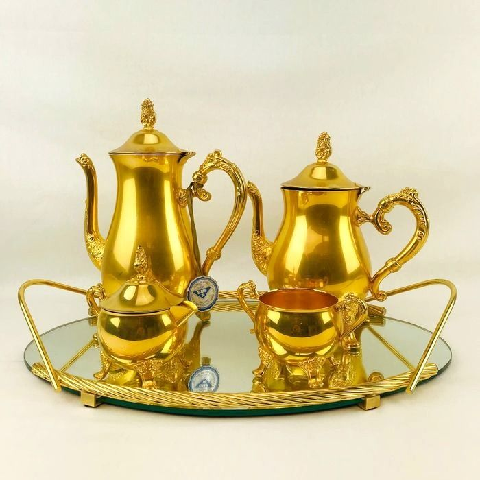 "BMF - Italian Serving tray with 24K gold plated coffee & tea set ""Milan"" (5)"