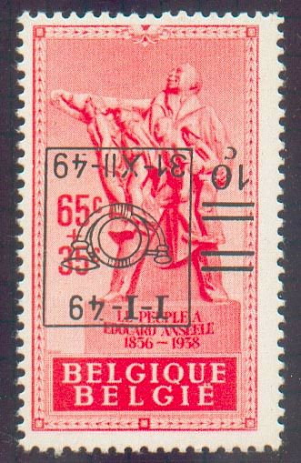 België - No. 803 - 10 centimes on 65 centimes. Anseele with inverted overprint, xx. Not listed with COB, Very fine centring and RR. Certi - OBP / COB 803