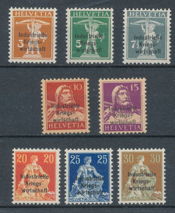 Switzerland 1918 - IKW; the 2nd set with thick overprint 9-15