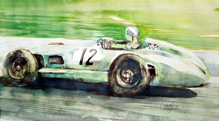 Original watercolor by Gilberto Gaspar - Stirling Moss - Mercedes-Benz - After 2000