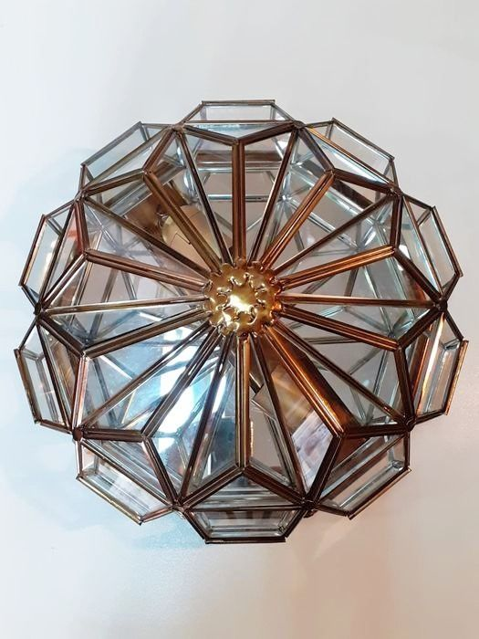 Ceiling lamp, or brass ceiling light and crystals