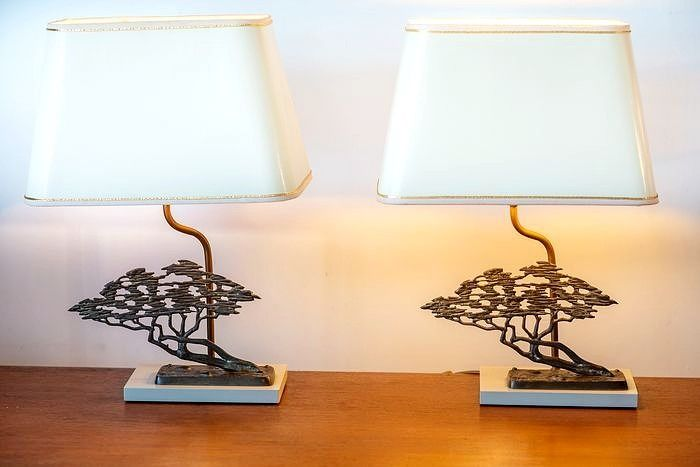 Two brass bonsai table lamps