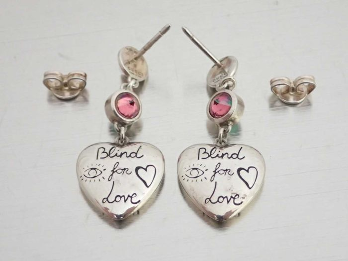 Gucci - 'Blind for Love' Crystal Heart - Boucles d'oreilles