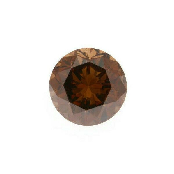 1 pcs Diamant - 0.81 ct - Brillant, Rond - Marron profond fantaisie - SI2