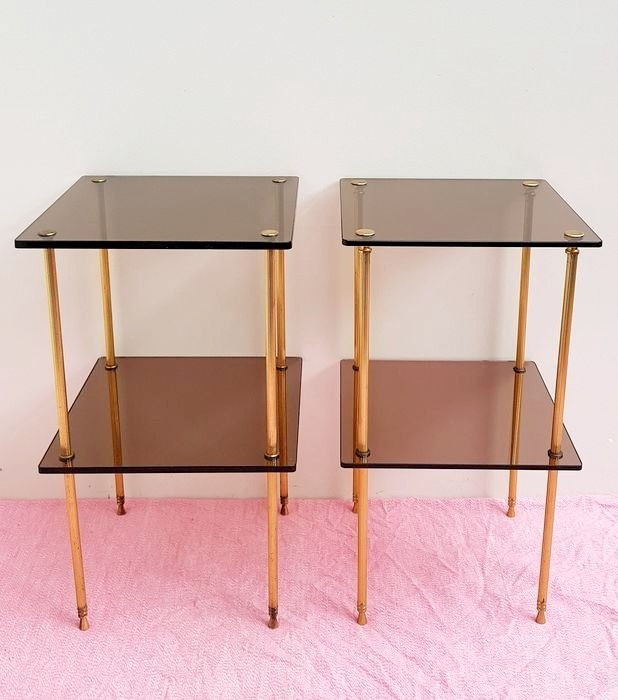 Set equal Hollywood style smoked glass side tables