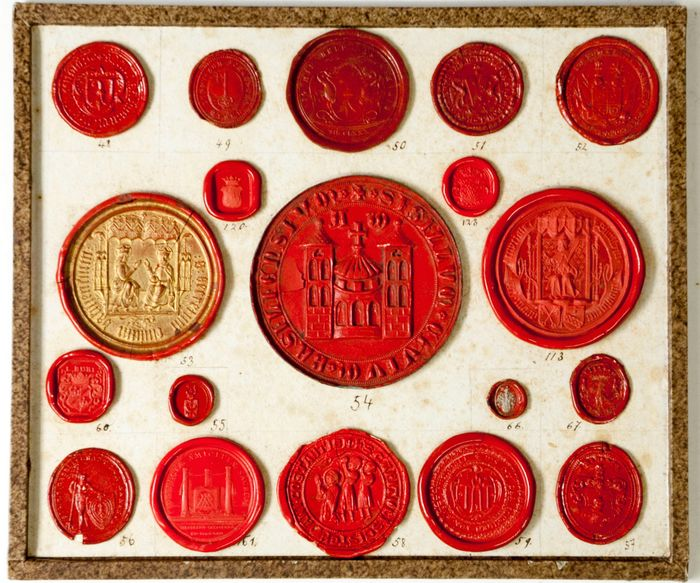 Swiss - Collection of 96 wax seal impressions of different institutions from Switzerland - 1800