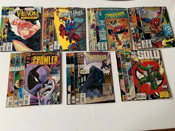 Spider-Man - Solo - Venom - The Shroud - The Prowler - Scarlet Spider - Friends and Enemies - Power of Terror - Very High Grade - 15 Complete Spider-Man Related Series - Softcover - Eerste druk - (1990/1997)