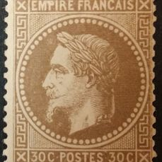 Frankrijk 1867/1867 - Napoleon III with laurel crown, 30 centimes brown - Yvert 30