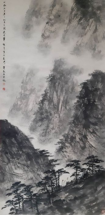 Inkt landschap - Rijstpapier - 《傅抱石-太华秋游图》Made after Fu Baoshi - China - Tweede helft 20e eeuw