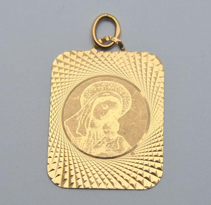 14 kt. Yellow gold - Pendant Orthodox Icon - Holy Mother