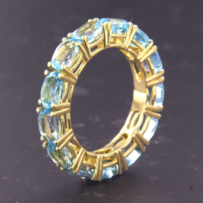 14 kt. Yellow gold - Ring - 7.00 ct Topaz