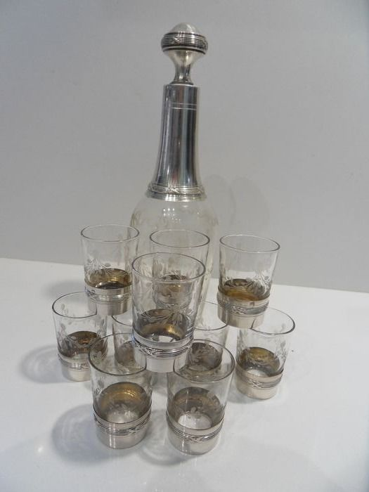 Silver crystal decanter and 10 shot glasses (11) - silver and crystal - Lagriffoul & Laval, Baccarat, 1899 - France - Late 19th century