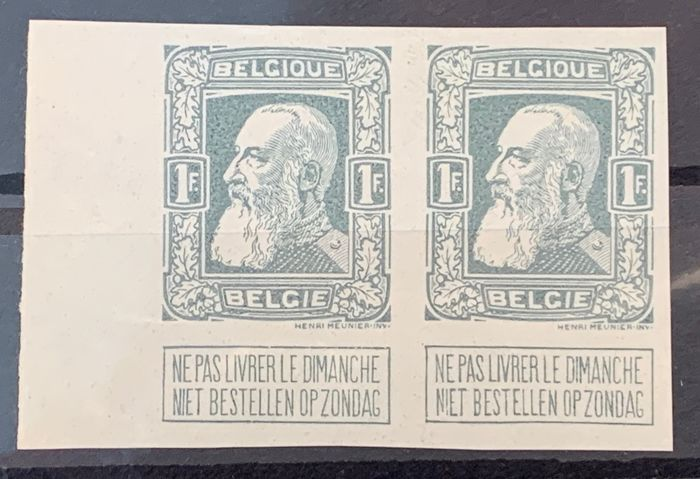 Belgium 1905 - Issue Leopold II Rough Beard - Colour proofs in PAIRS - Stes 2411. 2416, 2417