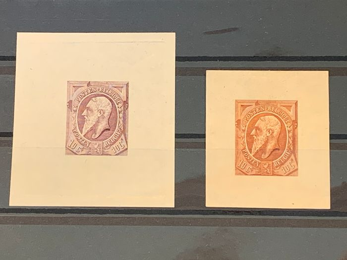Belgium 1887 - Issue Leopold II - colour proofs proposal PETITOT in 2 different colours - Stes 2049 & 2061