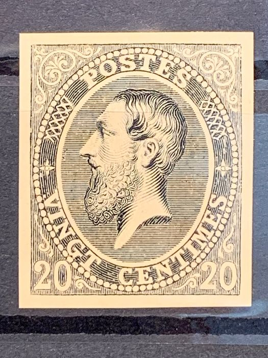 """Belgium 1869 - Leopold II - Issue 1869 - Proofs Type Franck """"20c black and white paper"""" - Stes 1486"""