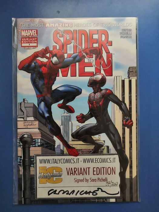 Spider-Man, Spiderman - Spider-Men #1 Variant edition for ITALYCOMICS (English language) signed by Sara Pichelli. Number 97 - Softcover - Eerste druk - (2016)