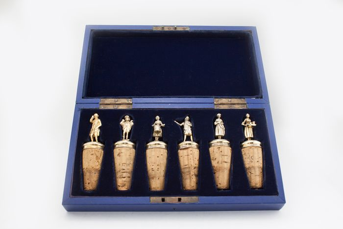 Antique late Victorian set of 6 wine decanter bottle stoppers - .925 silver, Silver gilt - 1898