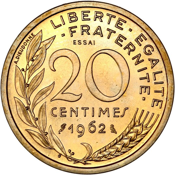 France. Ve République. 20 Centimes 1962 Lagriffoul - Essai