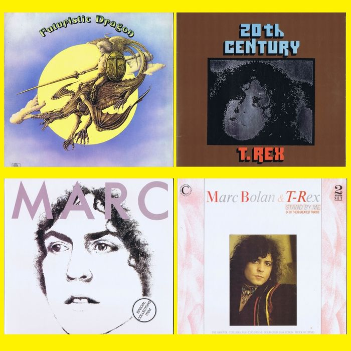 T.REX (Marc Bolan) 1. Futuristic Dragon 2. 20th Century - 3. Stand By Me 4. The Words And Music Of Marc Bolan 1947 - 1977 - Multiple titles - (lot of 2 LPs plus 2x 2LP-Set) - 1973/1985