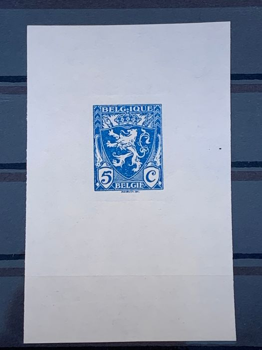 Belgium 1929 - Issue National coat of arms - Heraldic Lion - Colour proof 5c on shield - blue on chalky paper - Stes 3719