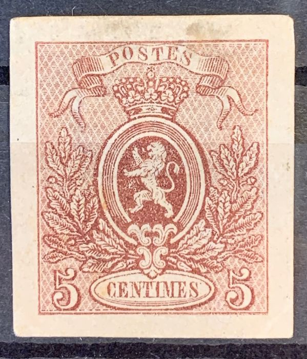 Belgium 1866/1867 - Small lion - Proof 5c brown - completed proof - thin white paper - Stes 1350