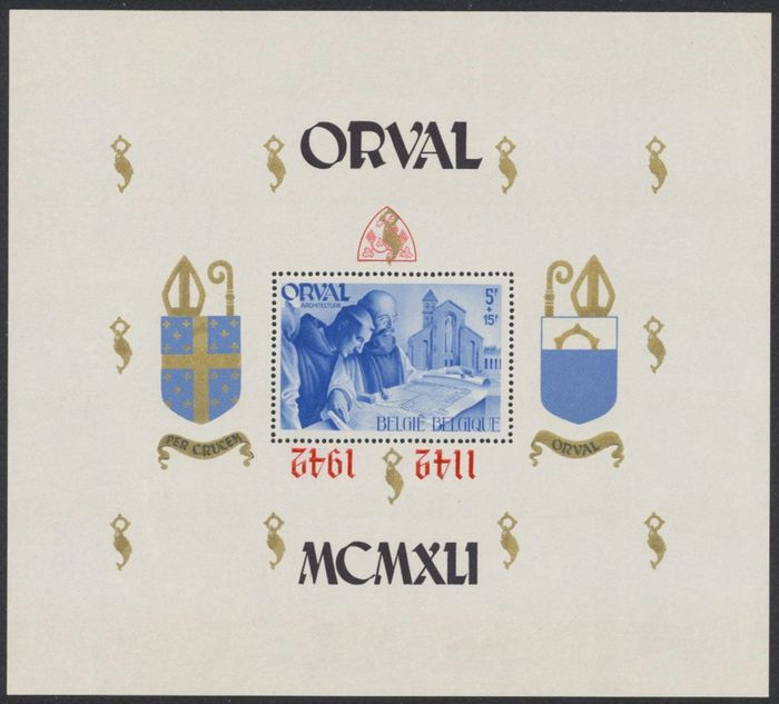 Belgium 1942 - Orval block with inverted overprint - OBP / COB BL22-Cu