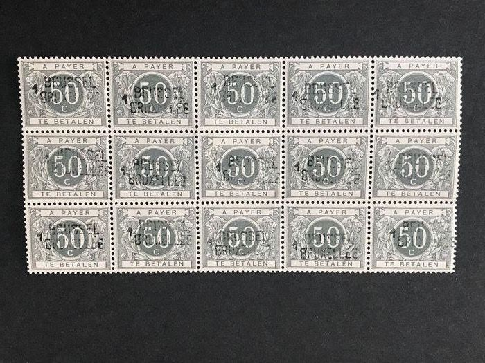 Belgium 1919 - 50 centimes postage due with typographical overprint of Brussels - OBP / COB TX16A