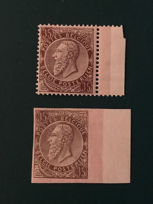 Belgium 1884 - 35 centimes King Leopold lI perforate and imperforate - OBP / COB 49