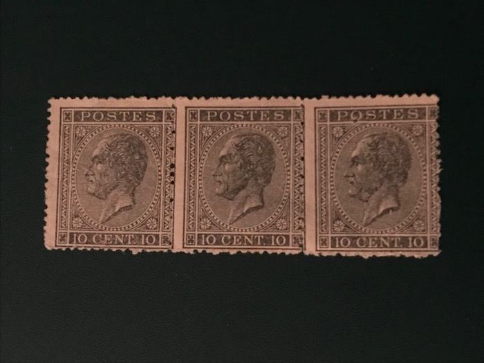 Belgium 1865 - 10 centimes King Leopold I in profile in strip of 3 - OBP / COB 17A