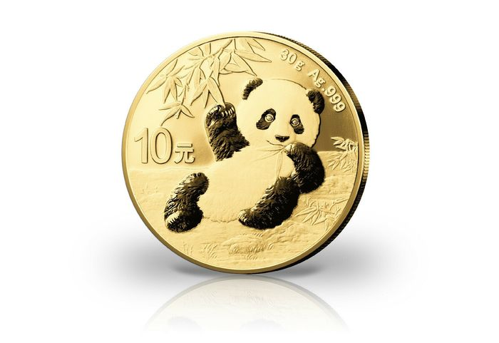 China. 10 Yuan 2020 'Panda, mit 24k Gold veredelt' - 30 g