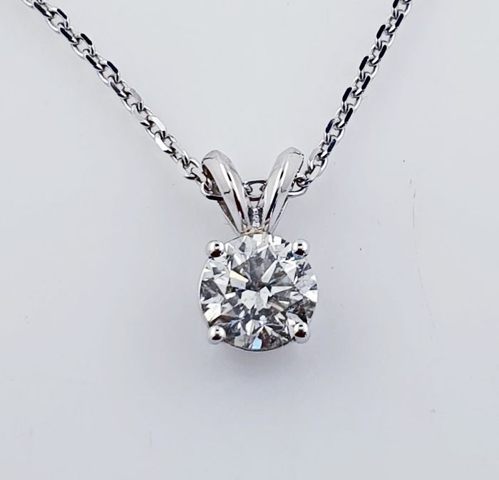 14 kt. White gold - Necklace with pendant - 0.81 ct Diamond - No Reserve