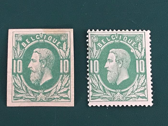Belgium 1869 - 10 centimes King Leopold lI perforated and imperforate - OBP / COB 30