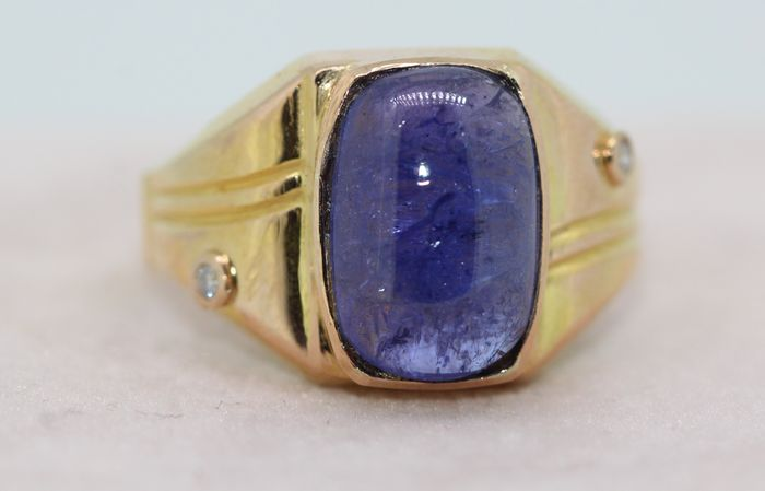 18 kt. Yellow gold - Ring - 8.00 ct Tanzanite - Diamonds