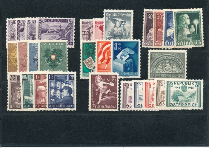 Austria 1947/1955 - Complete collection on small cards