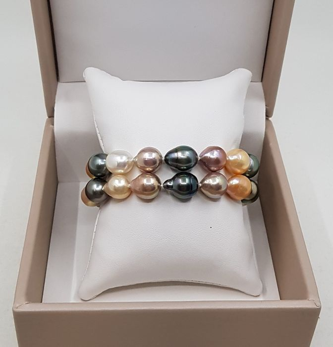 No reserve price - 18 kt. White Gold - 10x11mm Shimmering South Sea and Tahitian Pearls - Bracelet