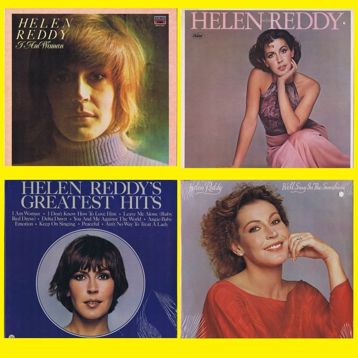 Helen Reddy (Ballad, Vocal) 1. I Am Woman 2. Ear Candy - 3. We'll Sing In The Sunshine 4. Greatest Hits - Multiple titles - (lot of 4 LPs) - 1972/1971