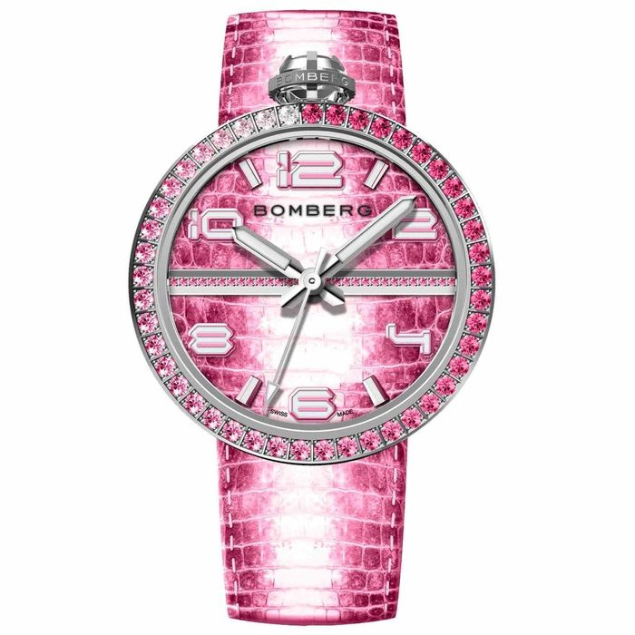 Bomberg - 1968 Watch Pink Swarovski Crystals Stainless Steel - EXTRA Strap - RS40H3SS.157.3 - Dames - Brand NEW