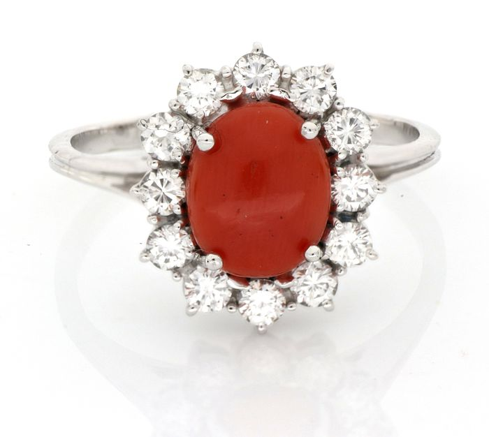 AIG Certificate - no reserve price - 18 kt. White gold - Ring - 1.20 ct Diamond - Natural Coral