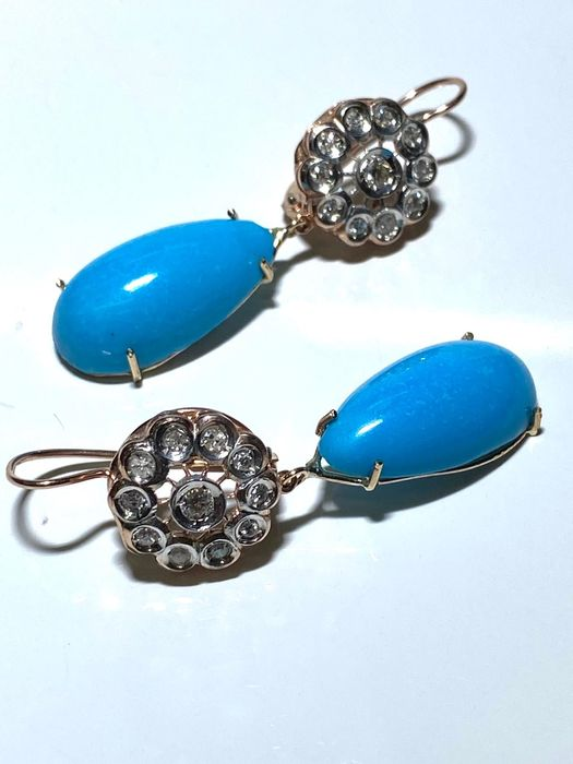 14 kt. Pink gold, Silver - Earrings Turquoise - Diamonds