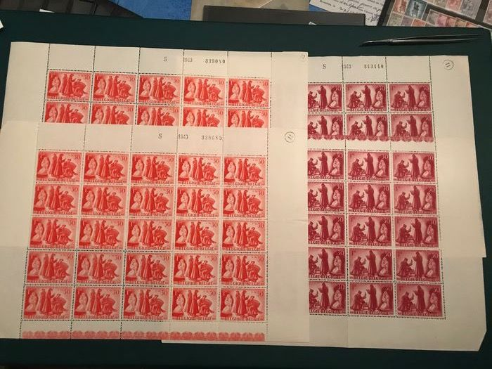 Belgium 1943 - Prisoners of war in a sheet of 25, plate I and II, with all varieties - OBP / COB 623/624