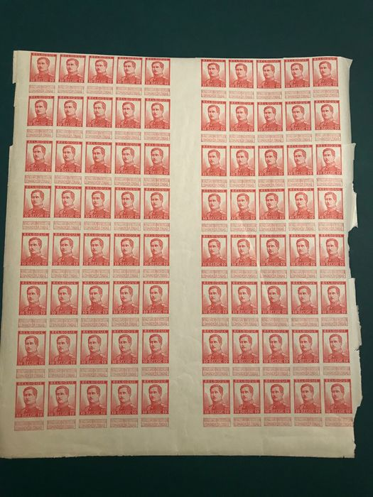 Belgium 1912 - 10 centimes Pellens imperforate, in a sheet part of eighty stamps with panels - OBP / COB 123