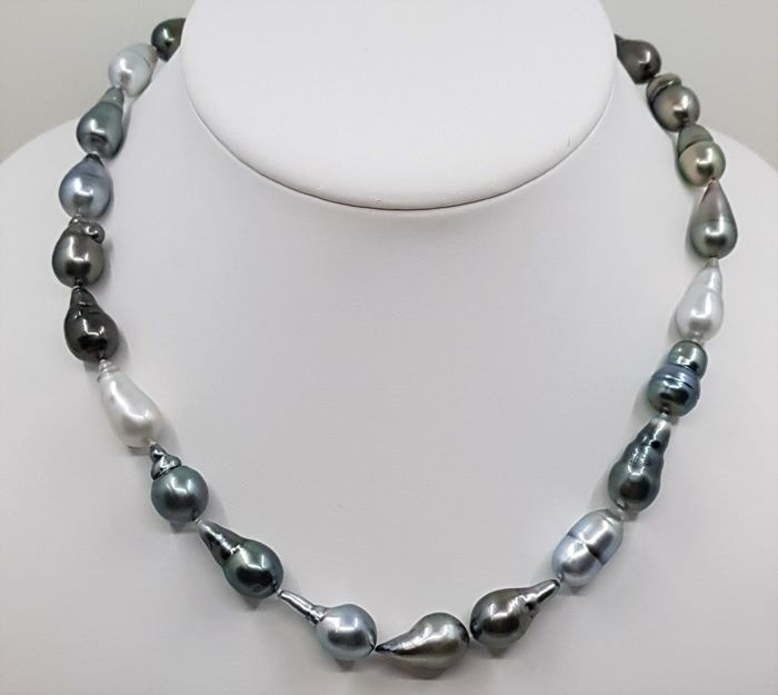 No reserve price - 14 kt. Silver - 9x11mm Multi Tahitian Pearls - Necklace
