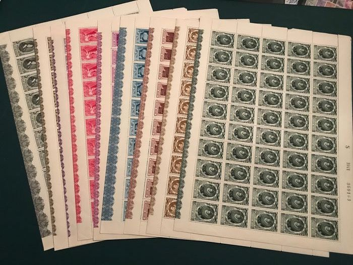 Belgium 1941 - Social service in sheets of one hundred stamps with panel and all varieties - OBP / COB 573/582