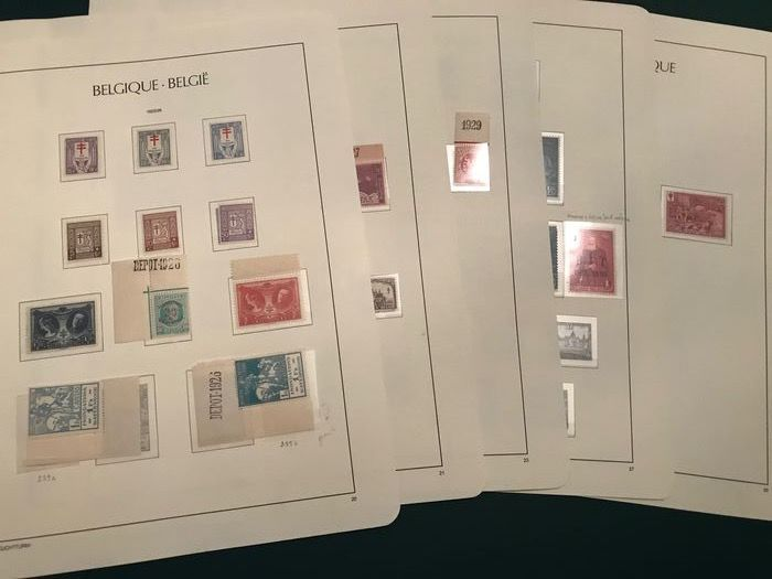 Belgium 1925/1930 - Selection of complete series, with Belfries and Landscapes - OBP / COB 234/244, 249/253, 267/288A, 293/300 en 302/307